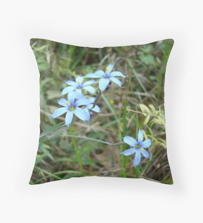 Blue-eyed Grass Throw Pillow