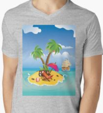 Cartoon Palm Island Mens V-Neck T-Shirt