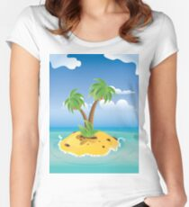 Cartoon Palm Island Women's Fitted Scoop T-Shirt