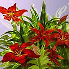 Red Lilies by Alma Lee