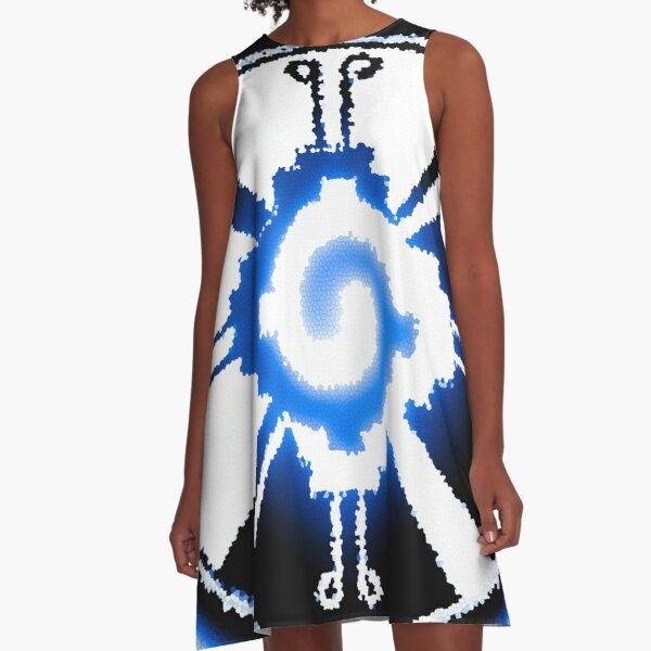 The Magical Mayan Galactic Butterfly - Blue A-Line Dress