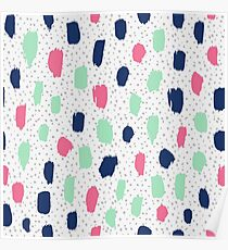 Cool color brush blots Poster