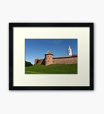 View of the fortress wall of the Novgorod Kremlin Framed Print