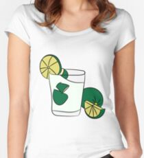 Beautiful Cartoon Detailed Fresh Caipirinhas Cocktail Alcohol Drink Bar Beverage Glass Ice Lime For Summer Women's Fitted Scoop T-Shirt