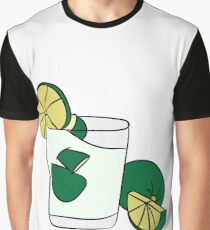Beautiful Cartoon Detailed Fresh Caipirinhas Cocktail Alcohol Drink Bar Beverage Glass Ice Lime For Summer Graphic T-Shirt
