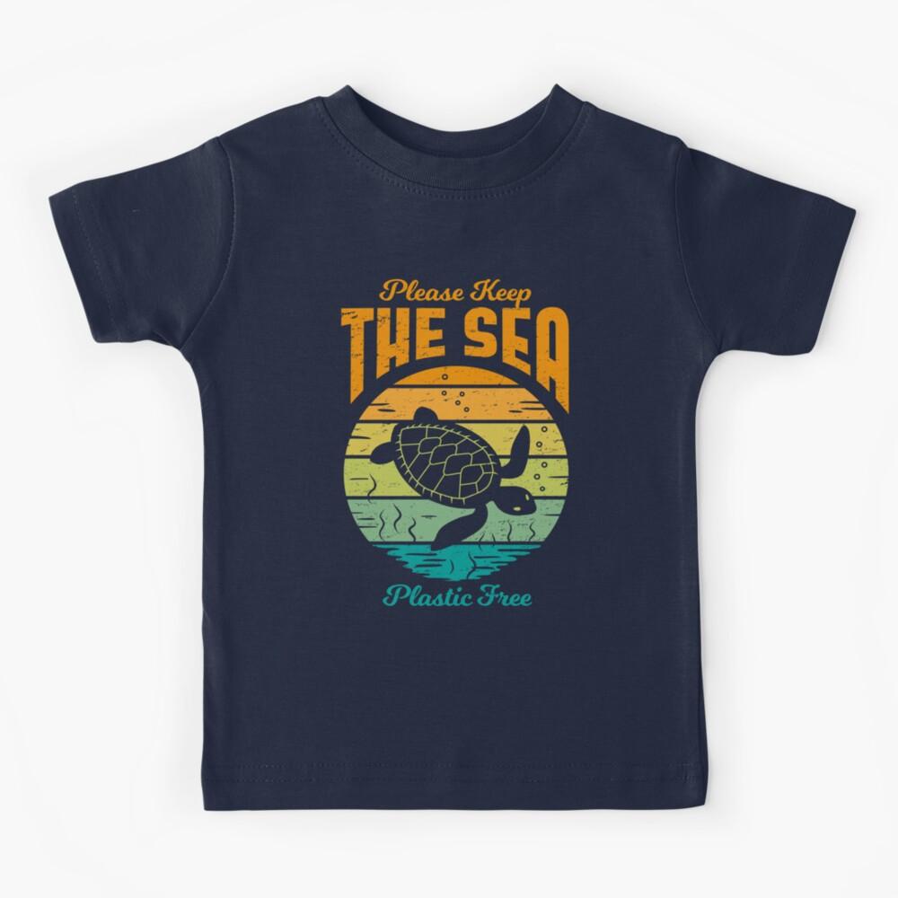 Mantén el mar libre de plástico - Retro Turtle Camiseta para niños