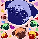 Pug Puppy Dog Love Hearts Pattern  by BluedarkArt