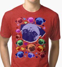 Pug Puppy Dog Love Hearts Pattern  Tri-blend T-Shirt
