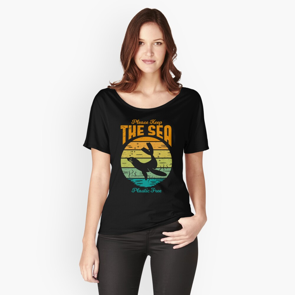 Please Keep the Sea Plastic Free - Retro Seal Relaxed Fit T-Shirt