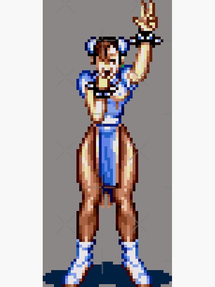 Chun Li Street Fighter Pixel Sprite Greeting Card
