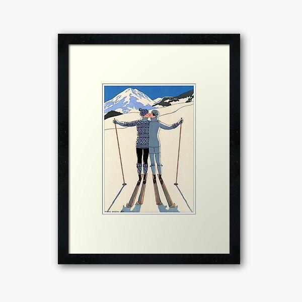 Vintage George Barbier - Couple Skiing 1925 Fine Art Framed Art Print