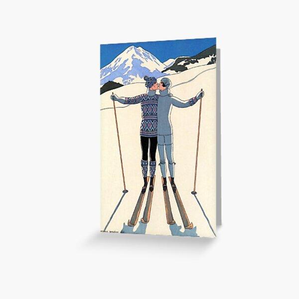 Vintage George Barbier - Couple Skiing 1925 Fine Art Greeting Card