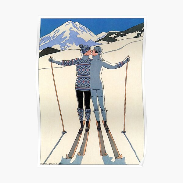 Vintage George Barbier - Couple Skiing 1925 Fine Art Poster