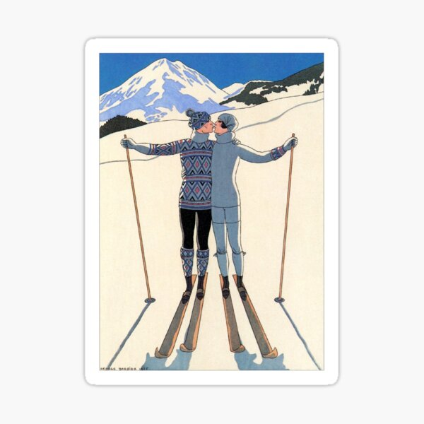 Vintage George Barbier - Couple Skiing 1925 Fine Art Sticker