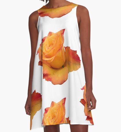 Blume, die orange Rose, Rosen A-Linien Kleid