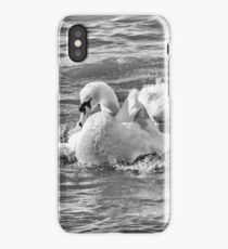 Swan Bathing in Black and White  iPhone Case/Skin
