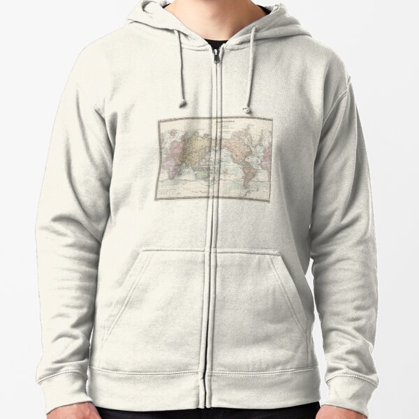 Vintage Map of the World (1875) Zipped Hoodie