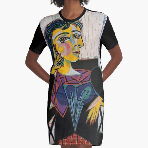 Portrait of Dora Maar-Pablo Picasso Graphic T-Shirt Dress