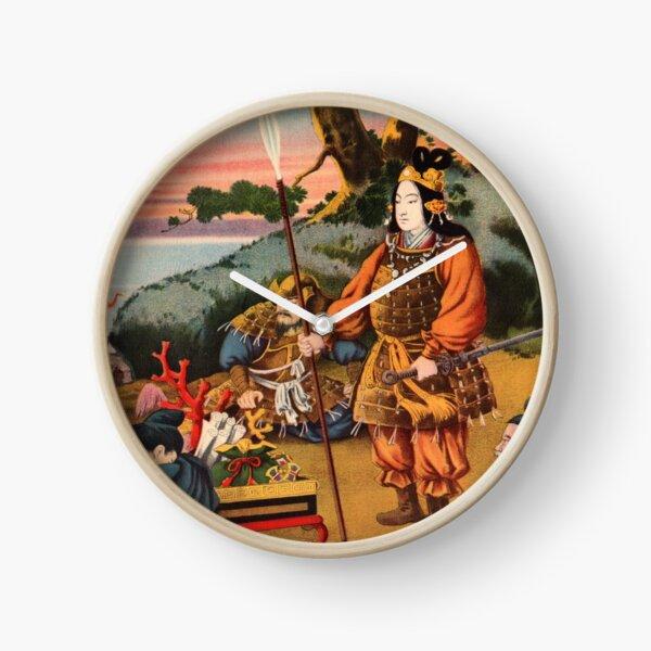 Ukiyo-e print of a group of Samurai Clock