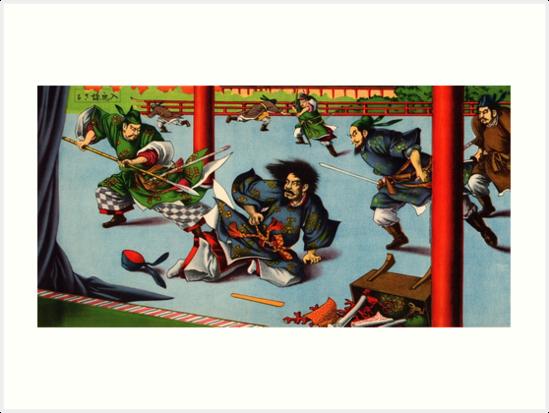 Ukiyo-e print of a Samurai battle scene by Fletchsan
