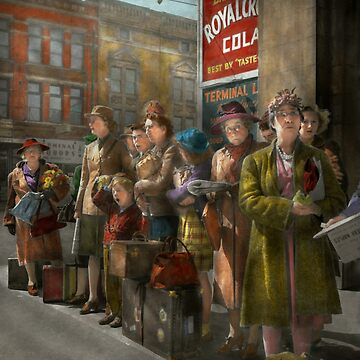 People - People waiting for the bus - 1943 by mikesavad