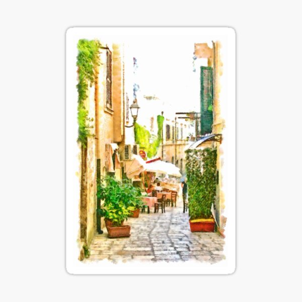 Glimpse of an alley with a restaurant Sticker