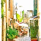 Glimpse of an alley with a restaurant by Giuseppe Cocco