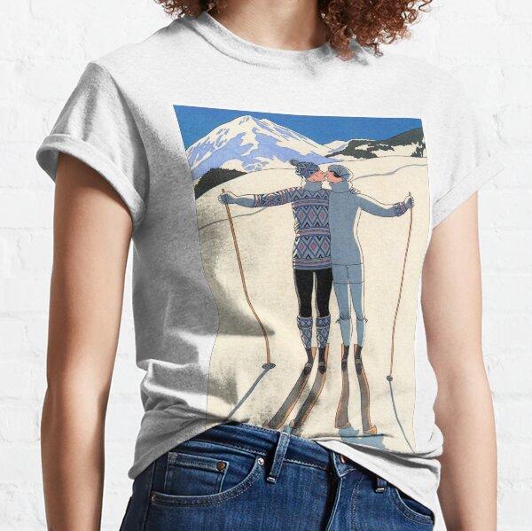 Vintage George Barbier - Couple Skiing 1925 Fine Art Classic T-Shirt