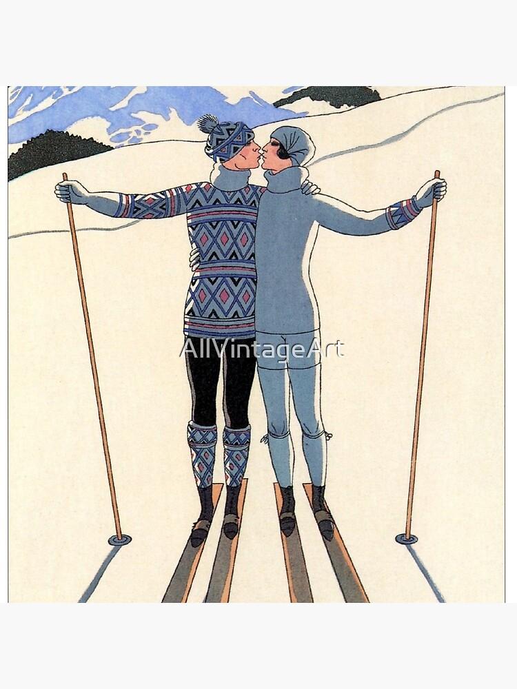 Vintage George Barbier - Couple Skiing 1925 Fine Art by AllVintageArt