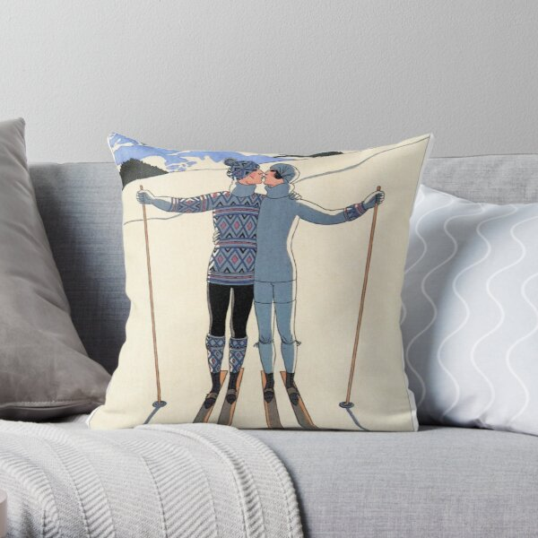 Vintage George Barbier - Couple Skiing 1925 Fine Art Throw Pillow