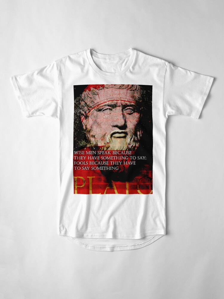 Alternate view of Plato Philosophical/Motivational Quote on Wisdom Long T-Shirt
