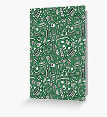 Funky Green Doodles Greeting Card