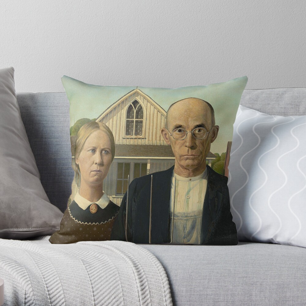 American Gothic Painting By Grant Wood Art Institute Of Chicago On Black Throw Pillow By Tomsredbubble Redbubble