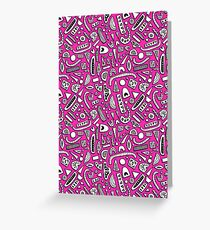Funky Pink Doodles Greeting Card