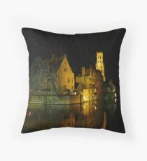 Bruges at night Throw Pillow