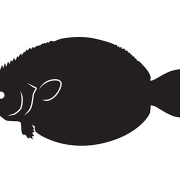 Heartbeat / Pulse - Flounder Fish Silhouette by SandpiperDesign