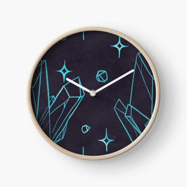 Electric Blue Crystal Pattern Clock
