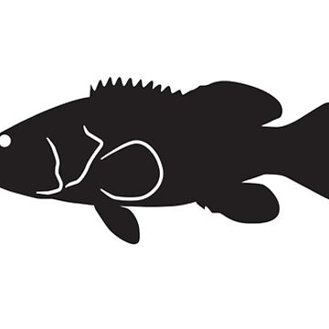 Heartbeat / Pulse - Goliath Grouper Silhouette by SandpiperDesign