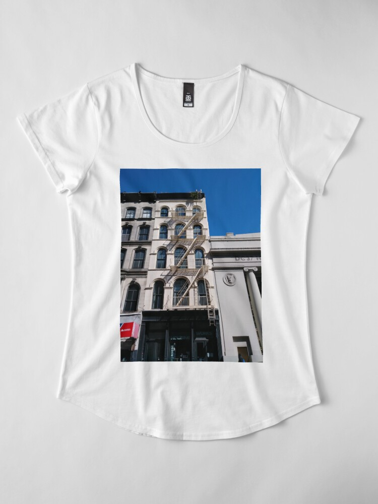 Alternate view of New York, Manhattan, Brooklyn, New York City, architecture, street, building, tree, car, pedestrians, day, night, nightlight, house, condominium,  Premium Scoop T-Shirt