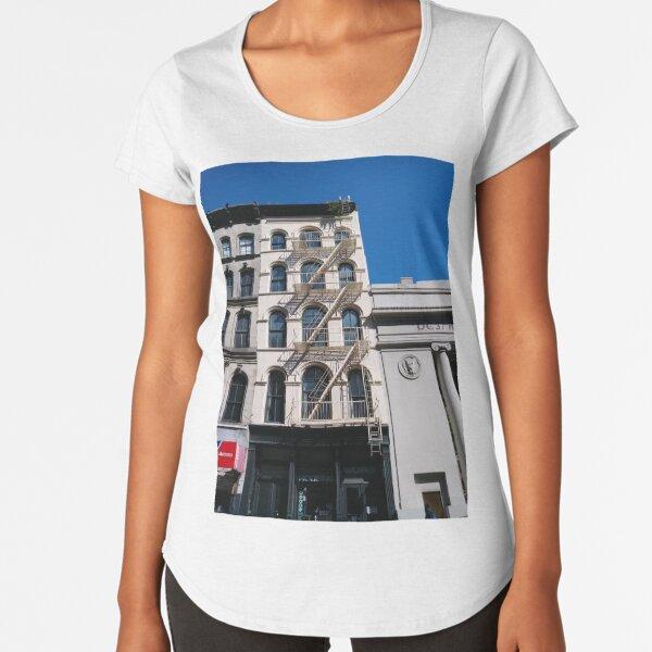 New York, Manhattan, Brooklyn, New York City, architecture, street, building, tree, car, pedestrians, day, night, nightlight, house, condominium,  Premium Scoop T-Shirt