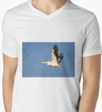 White Pelican, Pelecanus onocrotalus in flight with a blue sky background. Men's V-Neck T-Shirt