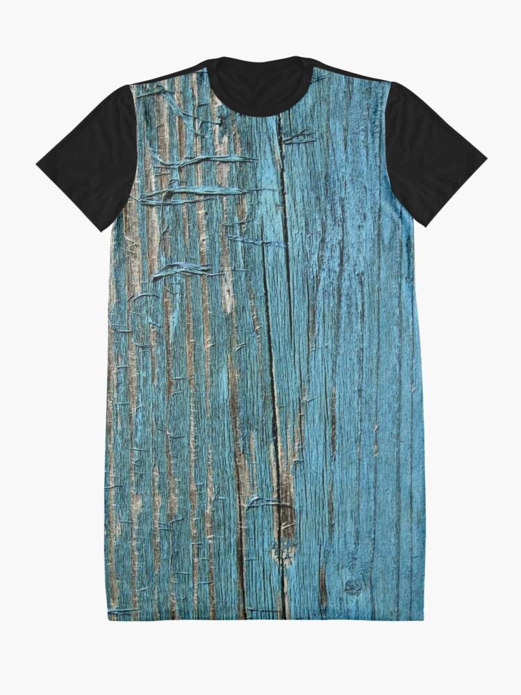 Alternate view of Rustic wood effect shabby print in turquoise Graphic T-Shirt Dress