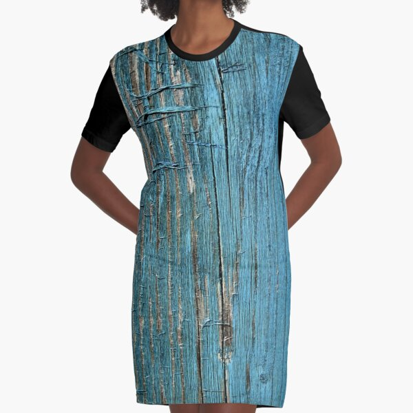 Rustic wood effect shabby print in turquoise Graphic T-Shirt Dress