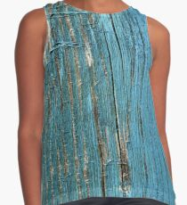 Rustic wood effect shabby print in turquoise Contrast Tank