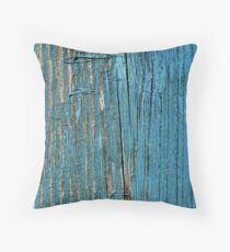 Rustic wood effect shabby print in turquoise Throw Pillow