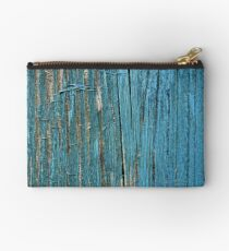 Rustic wood effect shabby print in turquoise Studio Pouch