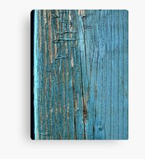 Rustic wood effect shabby print in turquoise Metal Print