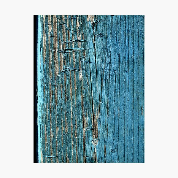 Rustic wood effect shabby print in turquoise Photographic Print