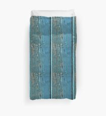 Rustic wood effect shabby print in turquoise Duvet Cover