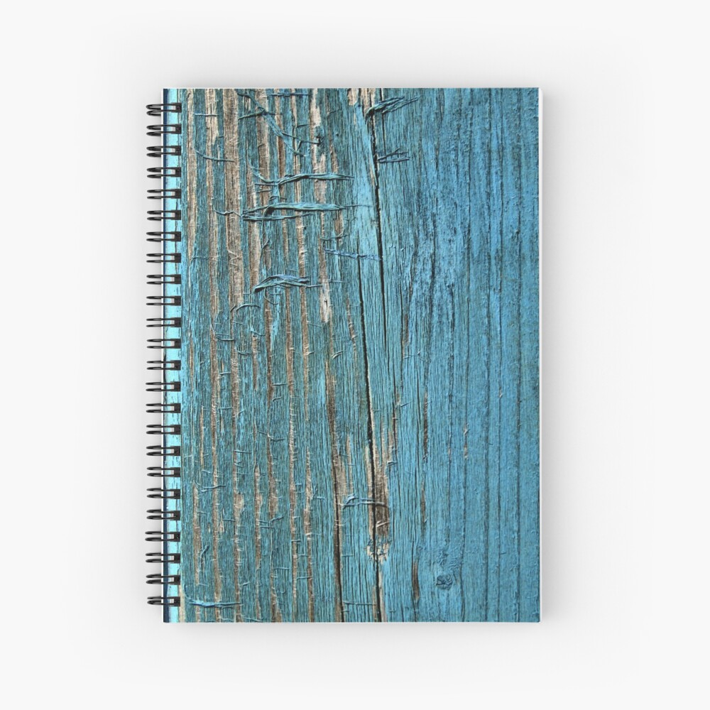 Rustic wood effect shabby print in turquoise Spiral Notebook